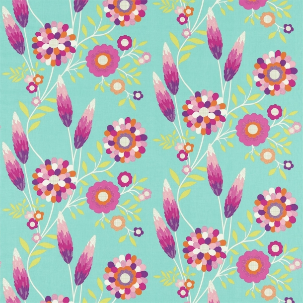 Funky Flowers - Turkis/Pink/Orange/Lime